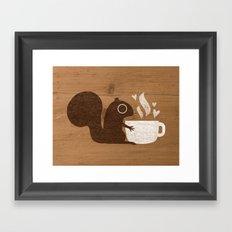 Squirrel Coffee Lover Framed Art Print