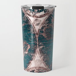 Antique World Map Pink Quartz Teal Blue by Nature Magick Travel Mug