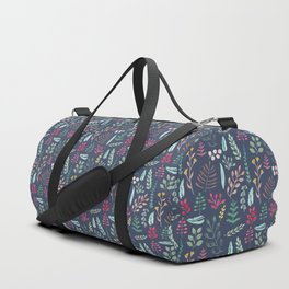 Winter leaves in blue Duffle Bag
