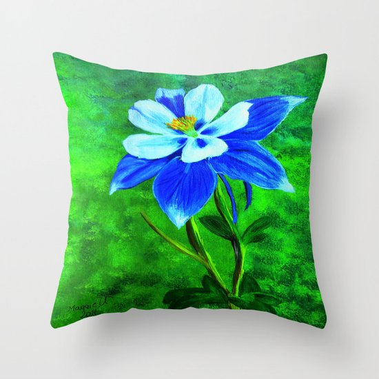Blue columbine Throw Pillow