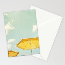 Beach Umbrella Photography, Mint Yellow Coastal Photograph, Teal Turquoise Summer Photo Print Stationery Cards