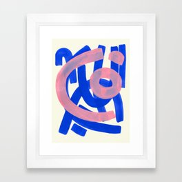 Tribal Pink Blue Fun Colorful Mid Century Modern Abstract Painting Shapes Pattern Framed Art Print