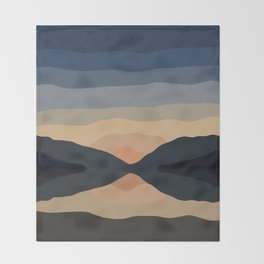 Sunset Mountain Reflection in Water Throw Blanket