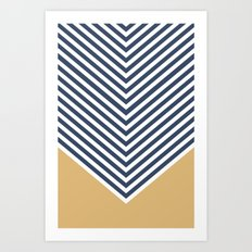 Gold & Navy Chevron Art Print