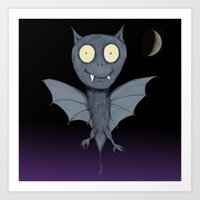 bat Art Prints featuring Bat by Bwiselizzy