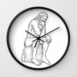 Man With Beard Sitting Thinking Drawing Black and White Wall Clock