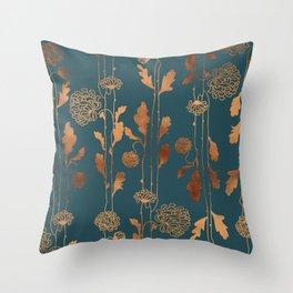 Art Deco Copper Flowers Throw Pillow