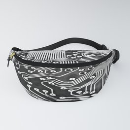 platine board conductor tracks splatter watercolor black white Fanny Pack