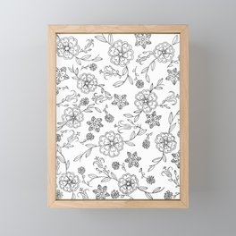 Floral pattern black and white 1 Framed Mini Art Print