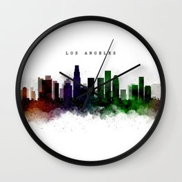 Los Angeles Watercolor Skyline Wall Clock
