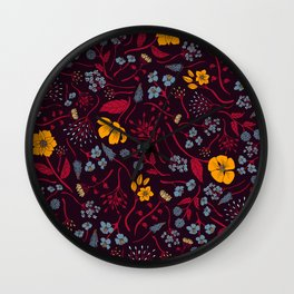 Mustard Yellow, Burgundy & Blue Floral Pattern Wall Clock