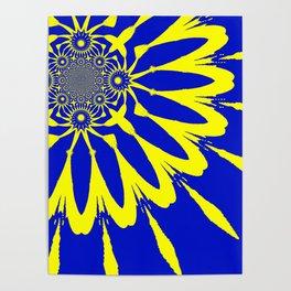 The Modern Flower Blue & Yellow Poster