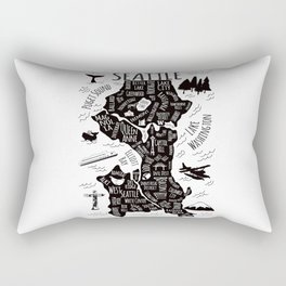 Seattle Illustrated Map in Black and White - Single Print Rectangular Pillow
