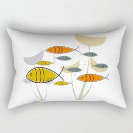 Mid Century Modern Fish, Marine Life Rectangular Pillow
