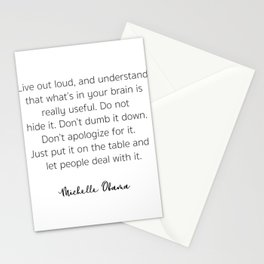 Live out loud, and understand that what's in your brain Stationery Cards