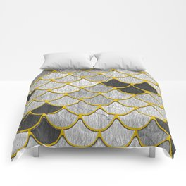 Dragon Scales with Yellow Outlines Comforters