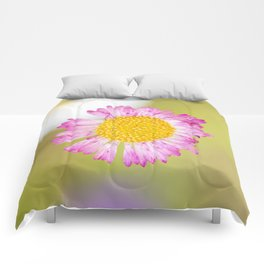 Yellow and pink wildflower Comforters