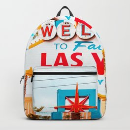 Classic view of Welcome to Fabulous Las Vegas sign on a beautiful sunny day with blue sky and clouds, Las Vegas, Nevada, USA Backpack
