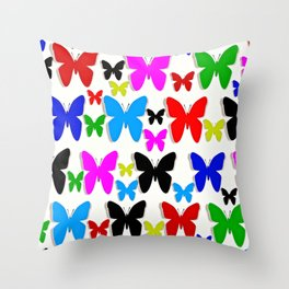 Butterfly Pretty Colors Pattern Throw Pillow