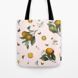 Oranges and Butterflies in Blush Tote Bag
