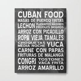 Cuban Food Word Food Art Poster (Black) Metal Print
