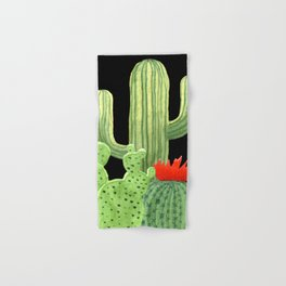 Perfect Cactus Bunch on Black Hand & Bath Towel