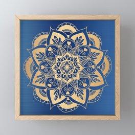 Blue and Gold Flower Mandala Framed Mini Art Print