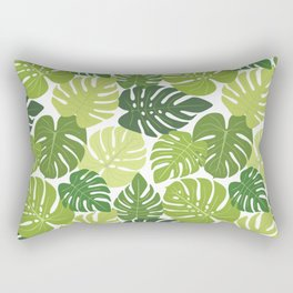 Monstera Leaves Pattern (white background) Rectangular Pillow