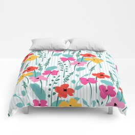 Cute colorful spring flowers pattern Comforters