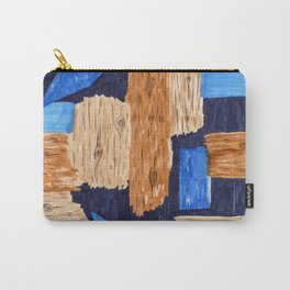woodgrain + blue by Amanda Laurel Atkins Carry-All Pouch