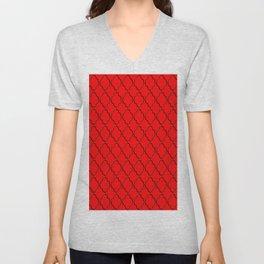 Diamond Grid Black and Red Unisex V-Neck