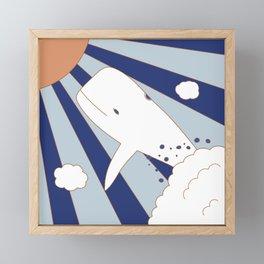 Flying Whale Framed Mini Art Print