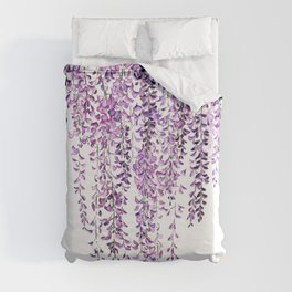 purple wisteria in bloom Duvet Cover