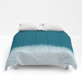 dark cyan watercolor Comforters