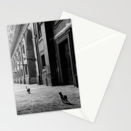 Two French Cats, Paris Left Bank black and white cityscape photograph / photography Stationery Cards
