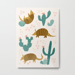 Armadillos in the Desert Metal Print