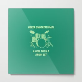 Never Underestimate A Girl With A Drum Set Funny Drums Vintage Drummer Distressed Metal Print