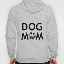 Black paw print with hearts. Dog mom text. Happy Mother's Day background Hoody