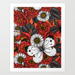 White butterfly and roses Art Print