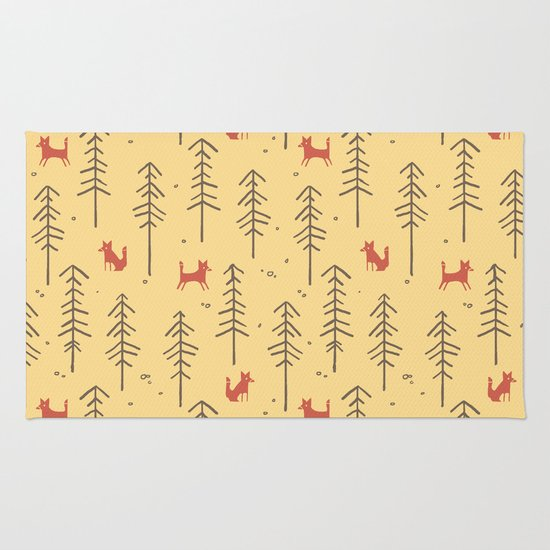Fox hiding in the forest Rug