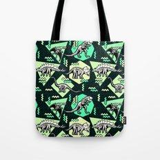 90's Dinosaur Skeleton Neon Pattern Tote Bag