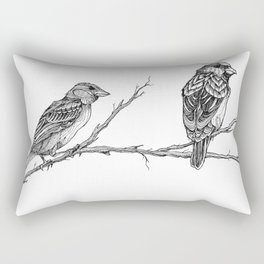 Two Sparrows by Sketchy Reputation Rectangular Pillow