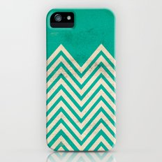 TEXTURED TEAL CHEVRON iPhone (5, 5s) Slim Case