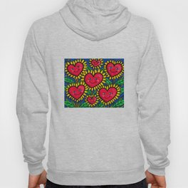 Happy Heart Flowers Sunflowers Hoody