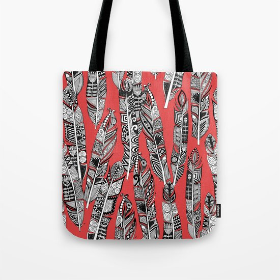 geo feathers red Tote Bag