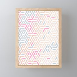 Pastel Deco Hexagon Pattern - Gold, pink & grey #pastelvibes #pattern #deco Framed Mini Art Print