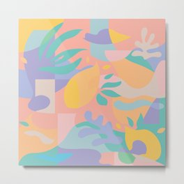 Lemons in Amalfi / Abstract shapes, Pink, Turquoise, Yellow, Lavender Metal Print