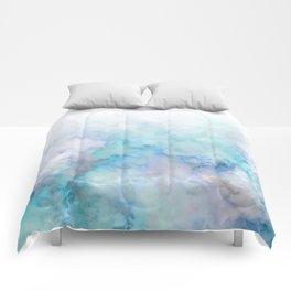 Fresh Blue and Aqua Ombre Frozen Marble Comforters