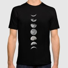 Phases of the Moon Black Mens Fitted Tee LARGE