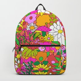 60's Groovy Garden in Neon Peach Coral Backpack